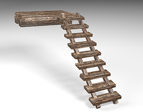 realtime Old Wooden Stairs - LowPoly 3D Model