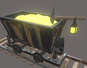 Rusty Metal Cart Mines and pick 3D model