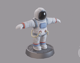 Cartoon low poly astronaut character 3D model