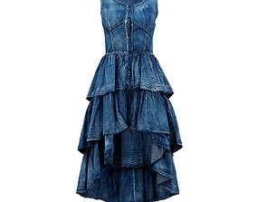 edgy 3D model Jeans Layer Dress