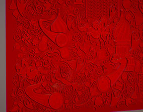 3D model Russian geometric tile ornament decoration red
