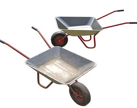 Game-ready Wheelbarrow - Unity - HDRP - UE4 3D model