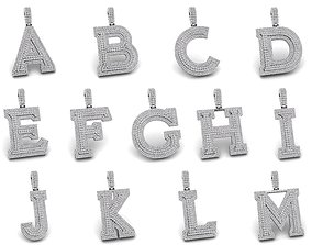 Custom 3D Initial A TO Z Letter Pendant