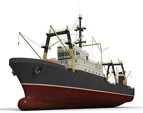 Trawler 3D asset low-poly