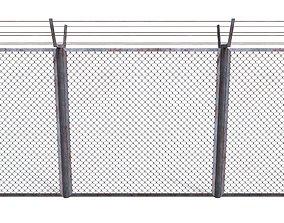 Low Poly Modular Fence 10 3D asset