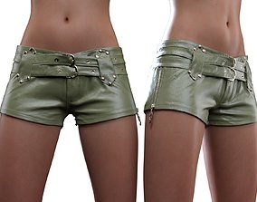 Double Belts Leather Shorts 3D model