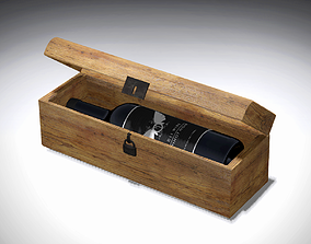 Wine box with wine 3D model