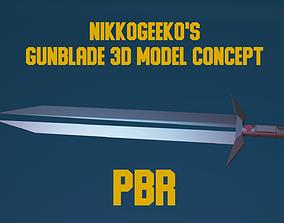 GunBlade - PBR Low-Poly 3D model