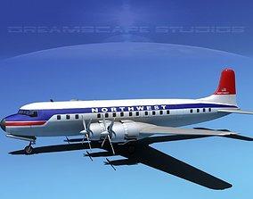 Douglas DC-7C Northwest Airlines 3D model