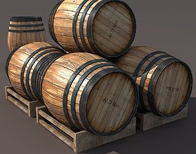 Wooden Barrel Low poly 3d Model low-poly