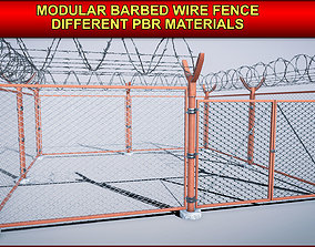 Modular Barbed Wire Fence with different PBR 3D asset