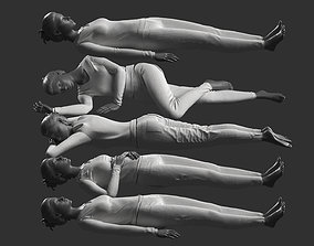 Woman Mannequin Lying 5 Poses 3D model
