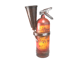 Old painted rusty vintage damaged used fire 3D asset 1