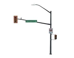3D asset Street Light with Traffic 04