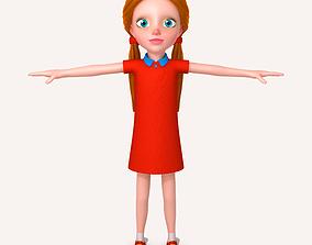 3D model Little girl cartoon