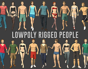 Lowpoly Rigged People 3D model