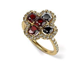 3D printable model 5 stone engagement ring