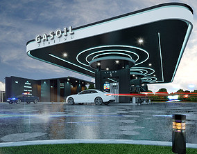 gas station 3D model realtime city