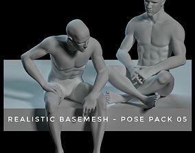3D asset Realistic Basemesh - Male - Pose Pack 05