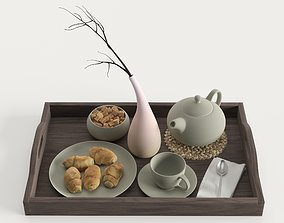 Wooden tray with breakfast on it 3D model