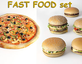 Burgers collection and pizza - FAST FOOD set 1 3D