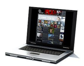 Silver Laptop Computer 3D