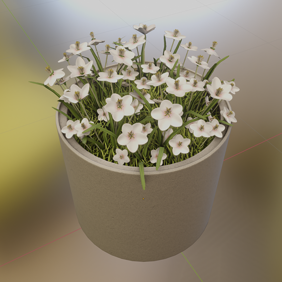 Concrete-Pipe-Pot-800mm-with-White-Flowers-Version-2 (Blender-2.91 Eevee)