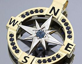 3D print model Compass pendant