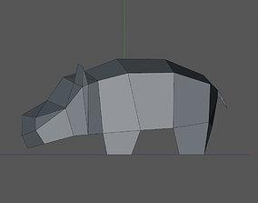 3D printable model low poly hippopotamus