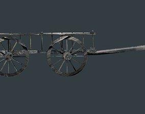 3D model old wood ox cart