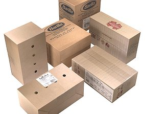 Cardboard boxes low poly 3D model game-ready