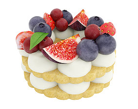 Cookie with berries 3D