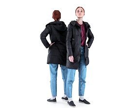 Woman in a black jacket 93 3D asset