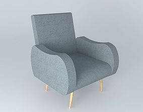 Armchair gray WAVES Maisons du monde 3D
