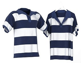 3D model Blue And White Striped Polo