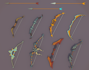 Low Poly Bows Pack 3D asset