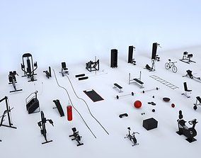 Massive Gym Equipment Collection 3D model