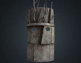 Wood mask with branches 3D model game-ready