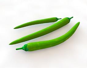 3D asset Chili Pepper Green