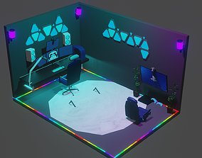 Full Gaming setup 3D asset