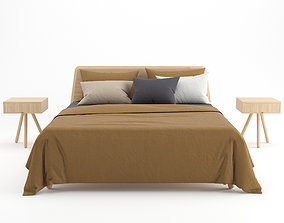 Wooden bed with linen cover 3D