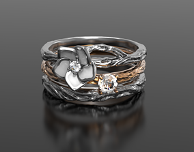 Wild white flower enamel ring 3D printable model