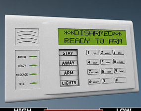 Alarm system keypad low poly 3D asset