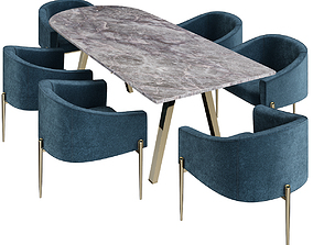 VR / AR ready Marseille Dining Table 3d model