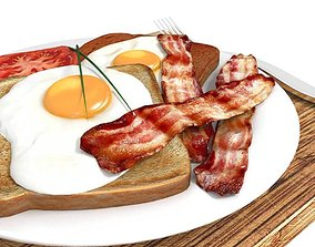 3D Bacon egg toast and tomato breakfast