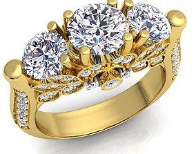 Three Stone Diomand Ring 3D model Print