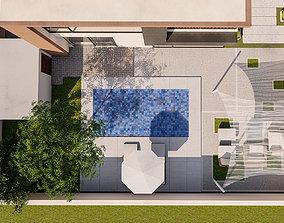 3D model backyard pool design of luxury house
