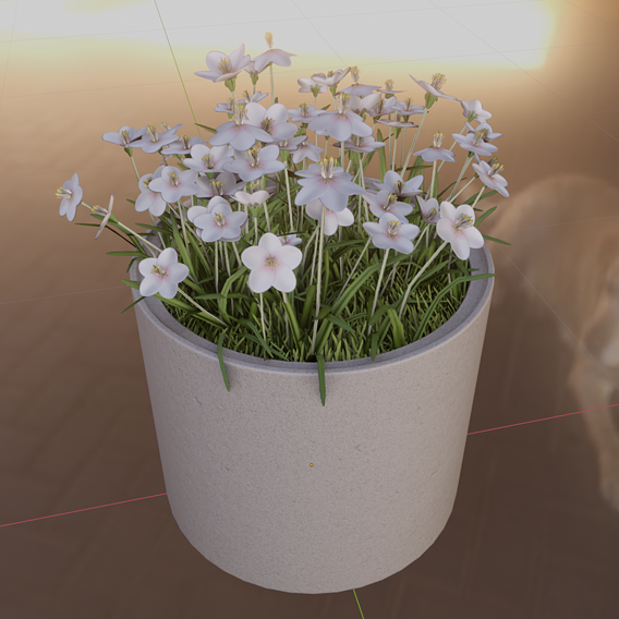 Concrete-Pipe-Pot-800mm-with-White-Flowers-Version-1 (Blender-2.91 Eevee)