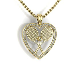 3D print model Gold tennis pendant heart design