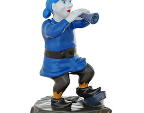 Gnome Figurine Playing The Pipe 3D model
